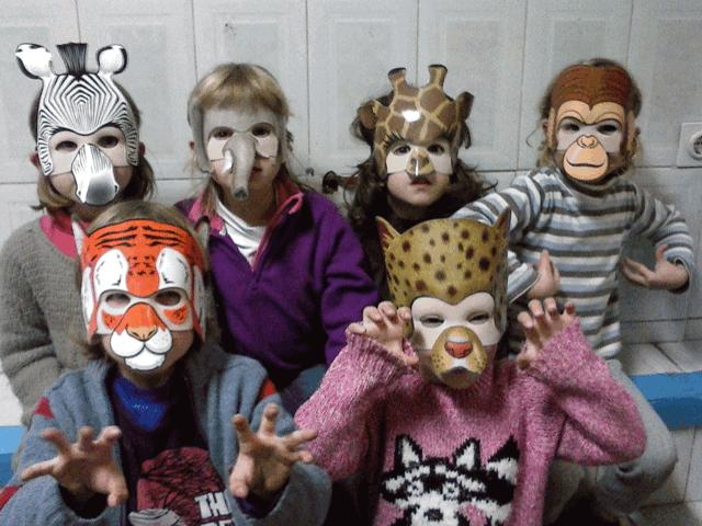 Young learners in animal masks