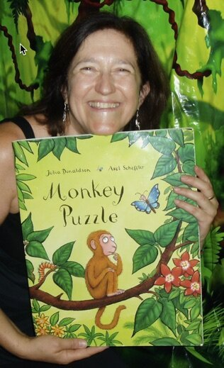 Chris storytelling with 'Monkey Puzzle'