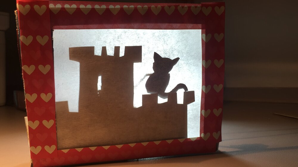 Tiny homemade shadow-puppet theatre