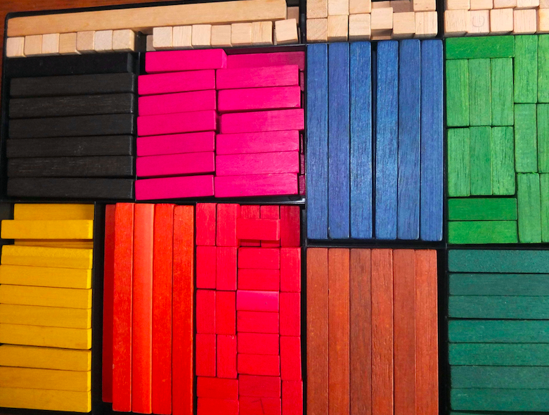 Set of brightly-coloured wooden Cuisenaire rods