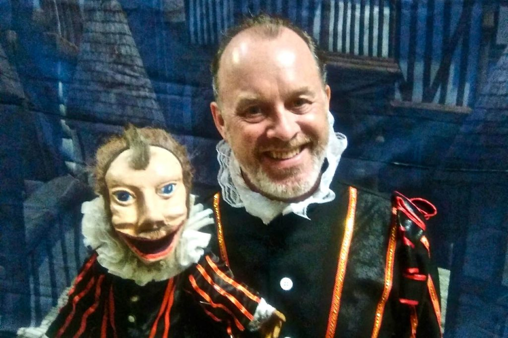 John Harrop as Shakespeare with Shakespeare puppet